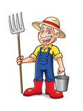 Cartoon Farmer Standing. Cartoon farmer was standing with a pitchfork and bucket with a big smile Stock Photography