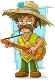 Cartoon farmer in straw hat with guitar. A vector illustration of cartoon farmer in straw hat with guitar Stock Image