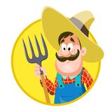 Cartoon farmer. vector illustration, isolated on white background. Cartoon farmer. vector illustration on white background Royalty Free Stock Photos