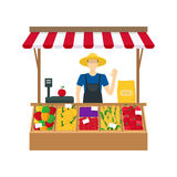 Cartoon Farmer Vegetable Seller. Vector Royalty Free Stock Images