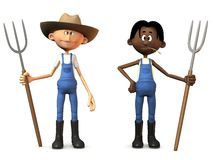 Cartoon farmers holding pitchforks. Two cartoon farmers holding pitchforks. One of them is wearing a cowboy hat. White background Stock Images