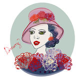 Cartoon fashion girl character in hat. Vector female illustration. Cartoon fashion girl character. Vector female illustration Stock Photo