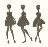 Cartoon fashion. Silhouettes, vector girls collection Royalty Free Stock Photos