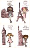 Cartoon fashionable girls,vector Stock Images