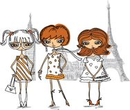 Cartoon fashionable girls,vector Royalty Free Stock Photos