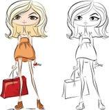 Cartoon fashionable girls,vector Royalty Free Stock Photo