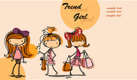 Cartoon fashionable girls,vector Royalty Free Stock Images
