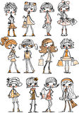 Cartoon fashionable girls,vector Stock Image