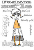 Cartoon fashionable girls,vector Stock Photo