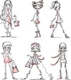Cartoon fashionable girls,vector royalty free illustration