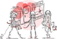 Cartoon fashionable girls,vector Stock Photo