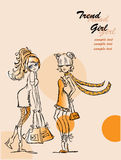 Cartoon fashionable girls,vector Royalty Free Stock Photography