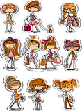 Cartoon fashionable girls,vector Royalty Free Stock Image