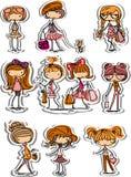Cartoon fashionable girls,vector Royalty Free Stock Image