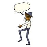 Cartoon fashionable man with speech bubble Stock Photo