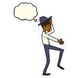 Cartoon fashionable man with thought bubble Stock Photo
