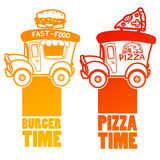 Cartoon fast-food car with a big hamburger and pizza. On a white background Royalty Free Stock Photo