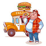 Cartoon fast-food car with the fat man. On a white background Royalty Free Stock Photo