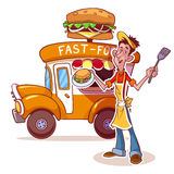 Cartoon fast-food car with the seller of hamburgers. On a white background stock illustration
