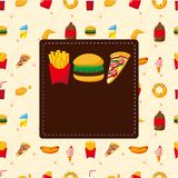 Cartoon fast food card Stock Photography