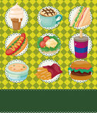Cartoon fast-food card Stock Images