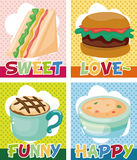 Cartoon fast-food card vector illustration