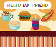 Cartoon fast-food card Stock Photography