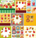 Cartoon fast food card Royalty Free Stock Images