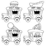 Cartoon fast-food cars. Outline. Stock Image