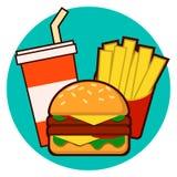 Cartoon fast food combo - hamburger, french fries, soda vector illustration isolated on background Vector Illustration