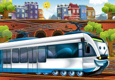 Cartoon fast train - train station Stock Image