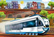 Cartoon fast train - train station Stock Images
