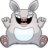 Cartoon Fat Aardvark Sitting. A cartoon illustration of a fat aardvark smiling and sitting Royalty Free Stock Images