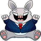 Cartoon Fat Aardvark Suit. A cartoon illustration of a fat aardvark in a suit smiling and sitting Stock Images