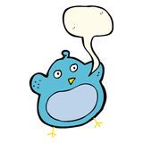 Cartoon fat bird with speech bubble Stock Photo