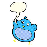 Cartoon fat bird with speech bubble Stock Photos