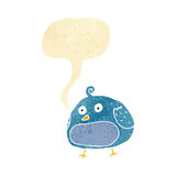 cartoon fat bird with speech bubble Royalty Free Stock Images