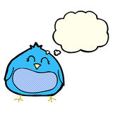 Cartoon fat bird with thought bubble Royalty Free Stock Photography
