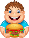 Cartoon fat boy eating big burger. Illustration of Cartoon fat boy eating big burger Royalty Free Stock Photos