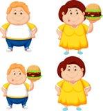 Cartoon fat boy and girl with big hamburger royalty free illustration
