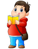 Cartoon fat boy in sweater reading a book. Illustration of Cartoon fat boy in sweater reading a book Royalty Free Stock Images