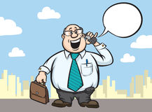 Cartoon fat businessman with cell phone and briefcase Stock Photography