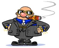 Cartoon fat cat. Cartoon caricature of rich man smoking cigar wearing sunglasses Stock Image