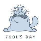 Cartoon fat cat went crazy. Vector illustration. Stock Photo
