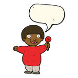 Cartoon fat child with speech bubble Stock Images