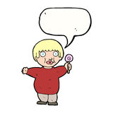 Cartoon fat child with speech bubble Royalty Free Stock Image