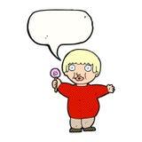 Cartoon fat child with speech bubble Royalty Free Stock Photos