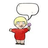 Cartoon fat child with speech bubble Stock Photos