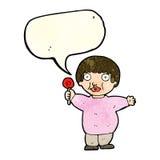Cartoon fat child with speech bubble Royalty Free Stock Photo