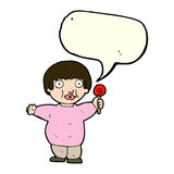 Cartoon fat child with speech bubble Royalty Free Stock Images